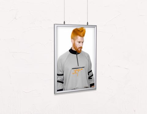 Salon Poster Click Frames, Double-Sided: Man with Side High Fade Quiff and Fringe Haircut with Orange Hair color