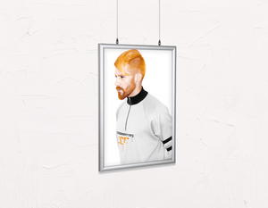 Salon Poster Click Frames, Double-Sided: Man with High Fade Quiff and Fringe Haircut with Orange Hair color - Bound for Style