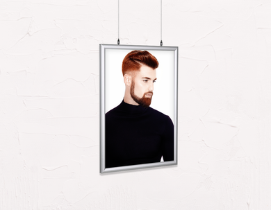 Salon Poster Click Frames, Double-Sided: Man Side with High Fade Quiff Haircut in Black Outfit - Bound for Style
