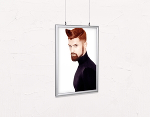 Salon Poster Click Frames, Double-Sided: Man with High Fade Quiff Haircut in Black Outfit - Bound for Style