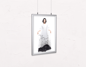 Salon Poster Click Frames, Double-Sided: Woman in Bob Hairstyle with Graphic Design Gown - Bound for Style