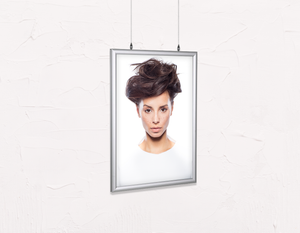 Salon Poster Click Frames, Double-Sided: Woman in Messy Bun Updo - Bound for Style