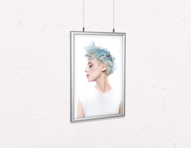 Salon Poster Click Frames, Double-Sided: Woman with Blue Spiky Hair - Bound for Style