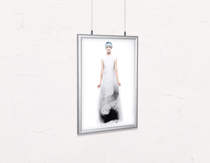 Salon Poster Click Frames, Double-Sided: Woman Full Body with Blue Hair in Graphic Gown - Bound for Style