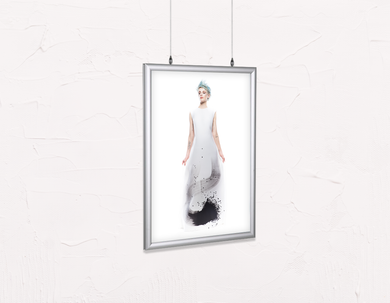 Salon Poster Click Frames, Double-Sided: Woman Full Body with Blue Spiky Hair in Graphic Gown - Bound for Style