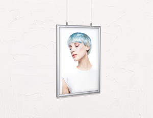 Salon Poster Click Frames, Double-Sided: Woman with Side Blue Hair in Graphic Gown - Bound for Style