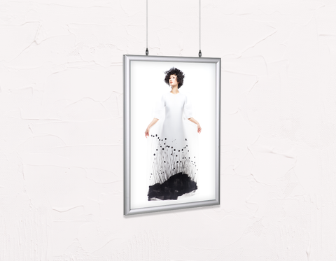 Salon Poster Click Frames, Double-Sided: Woman with Messy Curls Short Hairstyle in Grass Graphic Gown