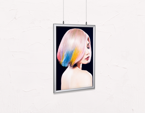 Salon Poster Click Frames, Double-Sided: Woman in Pink, Blue, Yellow Unicorn Hair