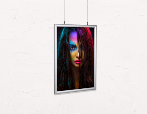 Salon Poster Click Frames, Double-Sided: Woman in Neon Multi Colored Makeup