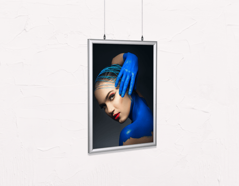 Salon Poster Click Frames, Double-Sided: Woman in Blue Body Paint and Red Makeup