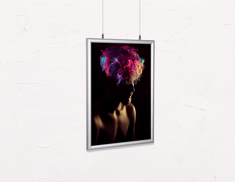 Salon Poster Click Frames, Double-Sided: Man in Silhouette with Neon Colored Unicorn Hair