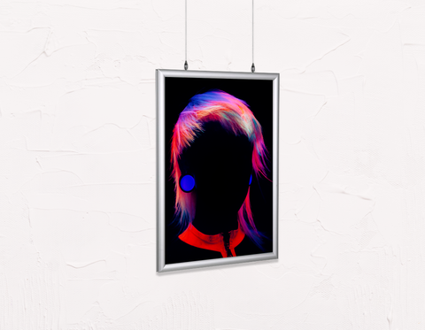 Salon Poster Click Frames, Double-Sided: Bob with Neon Colored Hairstyle in Silhouette