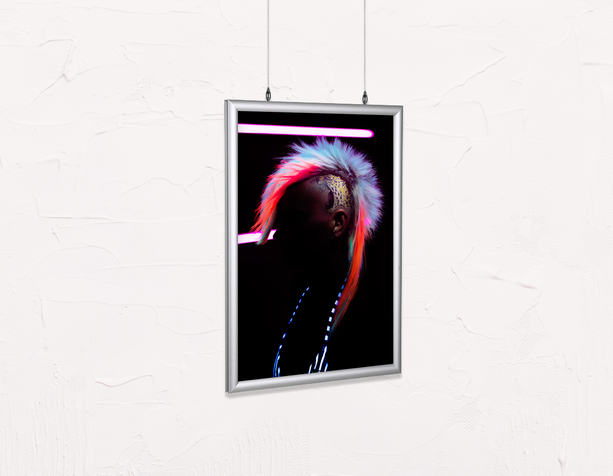 Salon Poster Click Frames, Double-Sided: Neon Mohawk Silhouette