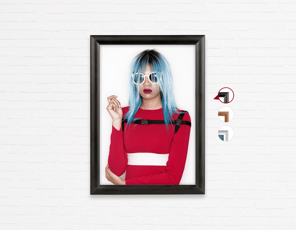 Salon Poster Click Frames, One-Sided: Woman Front with Blue Bob Hairstyle in Red Dress - Bound for Style