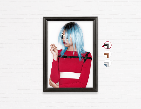 Salon Poster Click Frames, One-Sided: Woman with Blue Bob Hairstyle in Red Dress