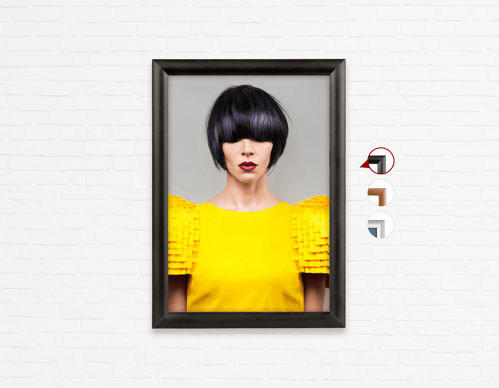 Salon Poster Click Frames, One-Sided: Woman Front with Bob Hairstyle with Purple Highlights - Bound for Style