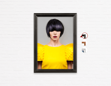 Salonposter Click Frames, One-Sided: Woman Front with Bob Hairstyle with Purple Highlights
