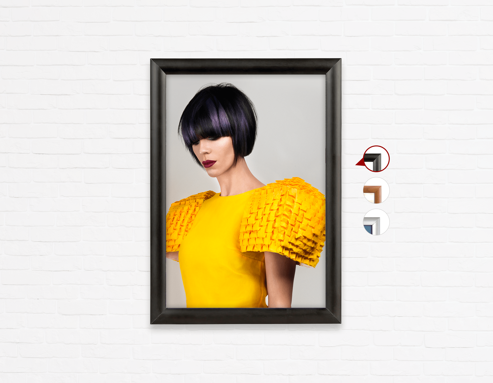 Salon Click Click Frames, One-Sided: Woman with Bob Hairstyle with Purple Highlights