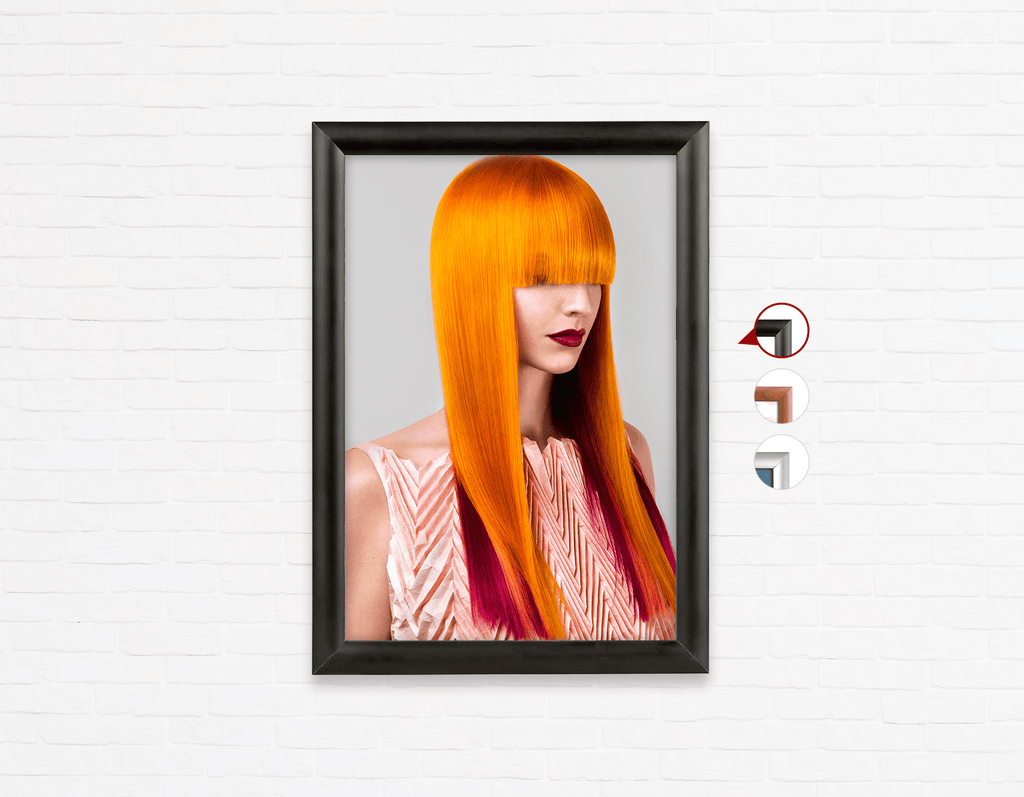 Salon Poster Click Frames, One-Sided: Woman Front 2 with Long Orange Color Hair - Bound for Style