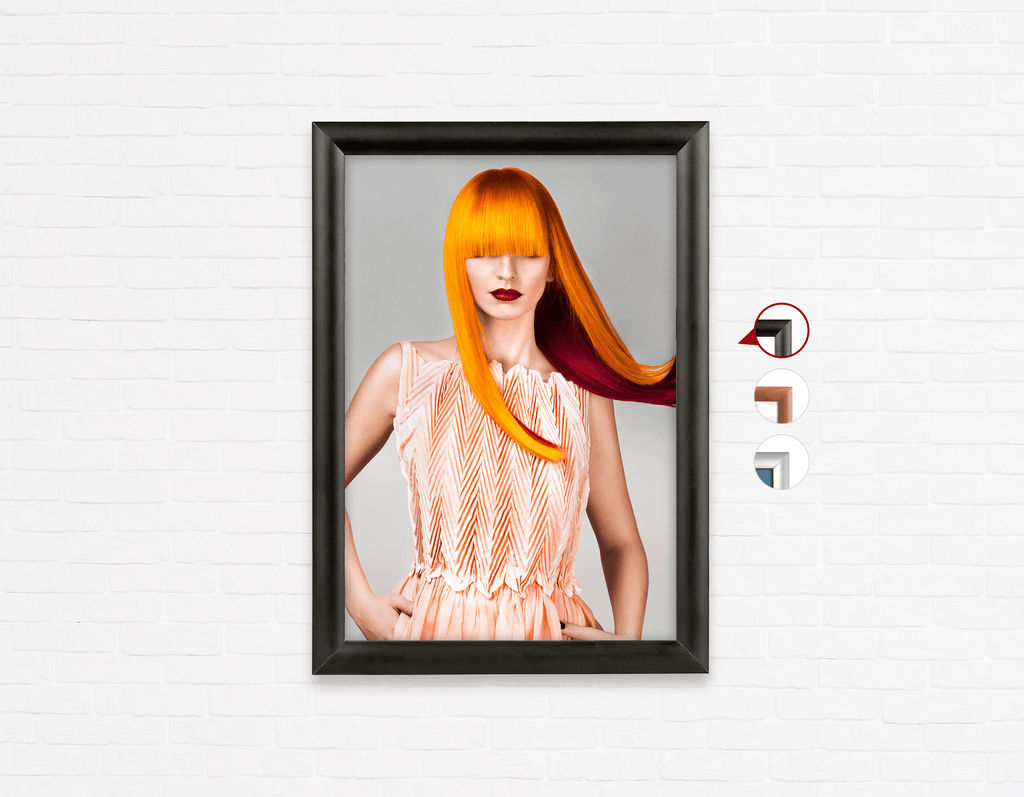 Salon Poster Click Frames, One-Sided: Woman Front with Long Orange Colored Hair - Bound for Style
