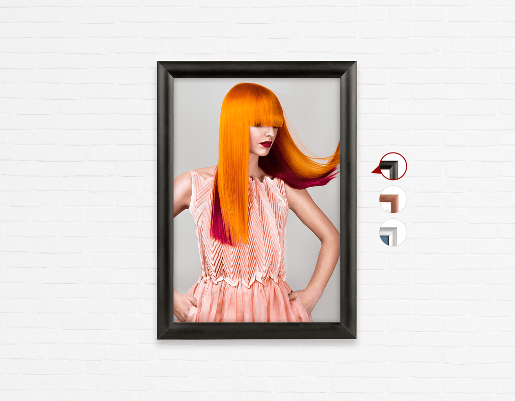 Salon Poster Click Frames, One-Sided: Woman with Long Orange Colored Hair - Bound for Style