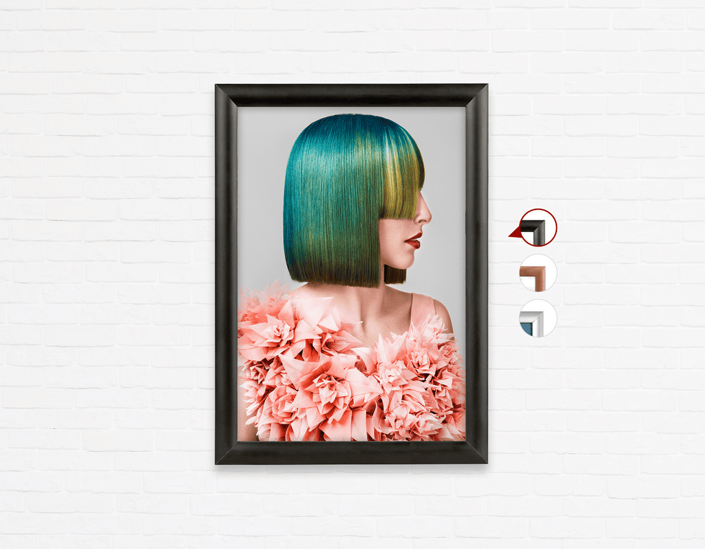 Salon Poster Click Frames, One-Sided: Woman with Green Hair in Peach Floral Textured Dress - Bound for Style