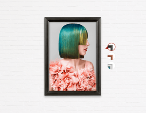 Salon Poster Click Frames, One-Sided: Woman with Green Hair in Peach Floral Textured Dress