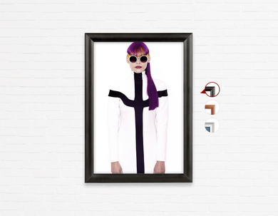 Salon Poster Click Frames, One-Sided: Woman with Long Purple Color Hair in Ponytail