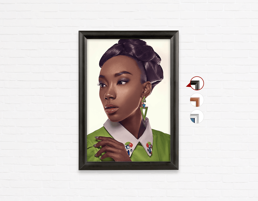 Salon Poster Click Frames, One-Sided: Black Woman in Updo with Big Curls - Bound for Style
