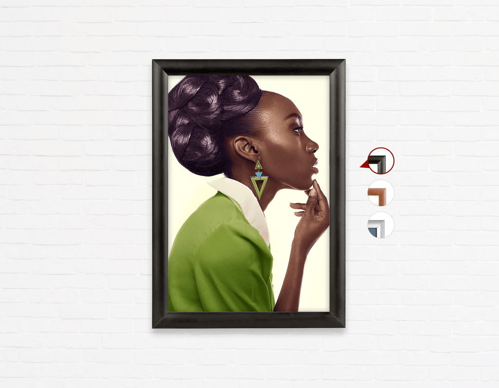 Salon Click Click Frames, One-Sided: Dark Skinned Woman in Updo with Big Curls - Bound for Style