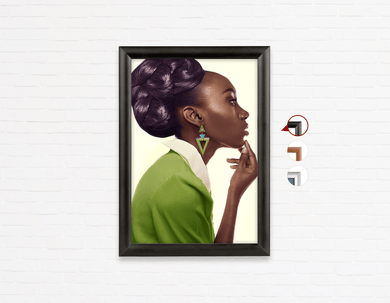 Salon Poster Click Frames, One-Sided: Dark Skinned Woman in Updo with Big Curls
