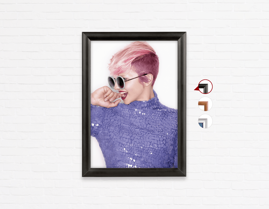 Salon Poster Click Frames, One-Sided:  Woman Side in Pink Hair Colored Pixie Cut - Bound for Style