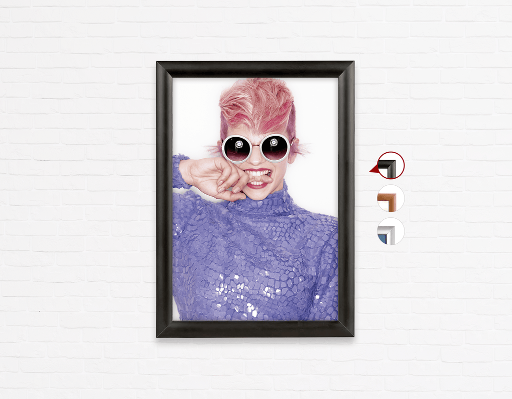 Salon Poster Click Frames, One-Sided: Woman Front in Pink Hair Colored Pixie Cut - Bound for Style