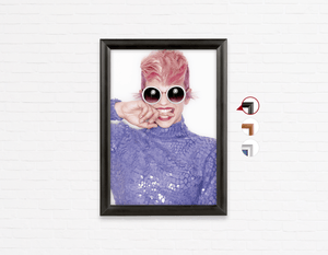 Salon Poster Click Frames, One-Sided: Woman Front in Pink Hair Colored Pixie Cut