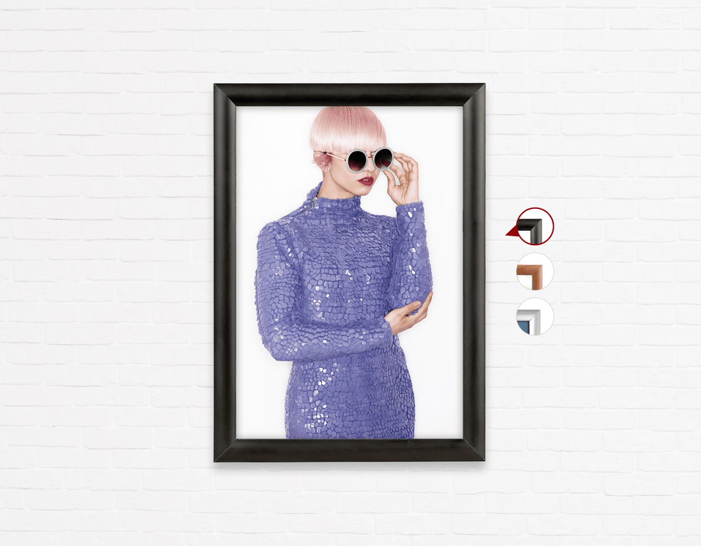 Salon Poster Click Frames, One-Sided: Woman in Pink Hair Colored Pixie Cut - Bound for Style