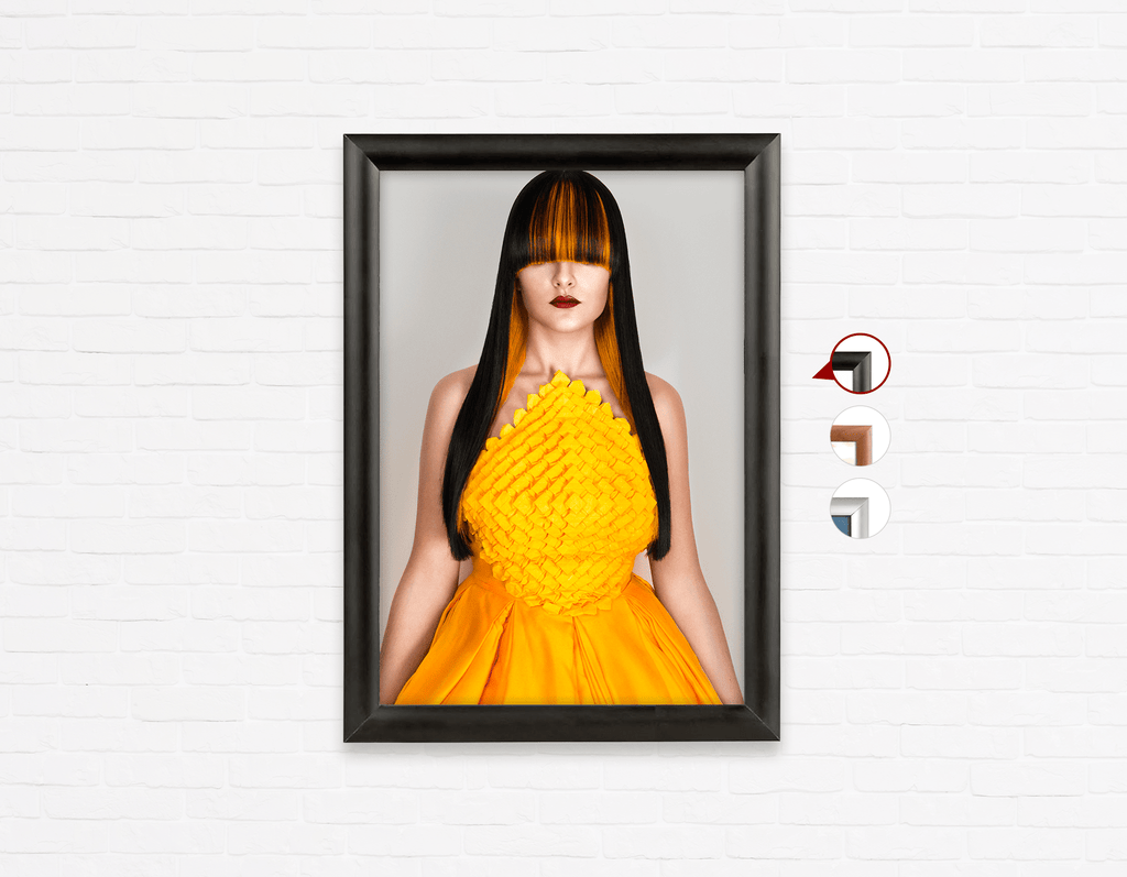 Salon Poster Click Frames, One-Sided: Woman Front with Long Straight Hair with Orange Highlights - Bound for Style