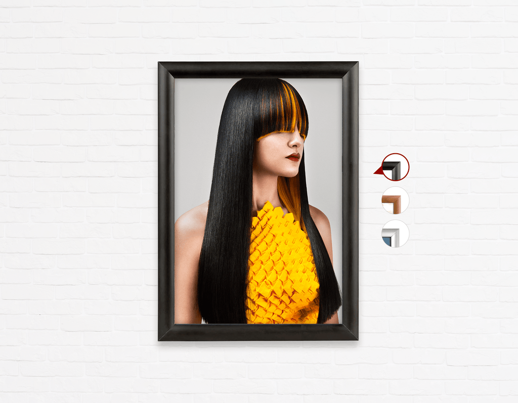 Salon Poster Click Frames, One-Sided: Woman with Long Straight Hair with Orange Highlights - Bound for Style