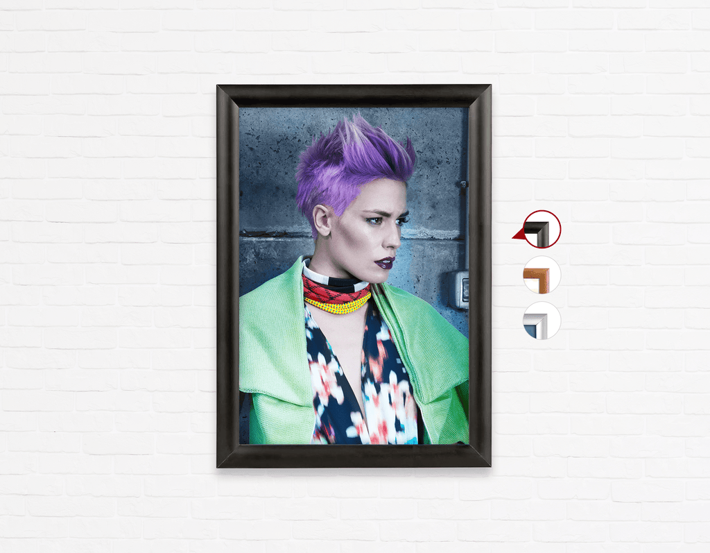 Salon Poster Click Frames, One-Sided: Woman in Purple Pixie Cut - Bound for Style