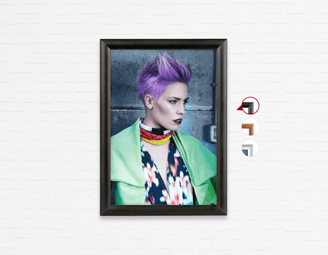 Salon Poster Click Frames, One-Sided: Woman in Purple Pixie Cut