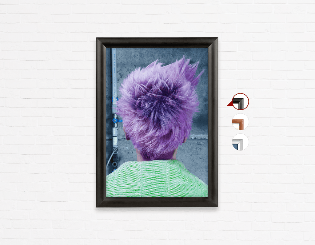 Salon Poster Click Frames, One-Sided: Woman in Purple Pixie Cut Back - Bound for Style