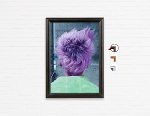 Salon Poster Click Frames, One-Sided: Woman in Purple Pixie Cut Back