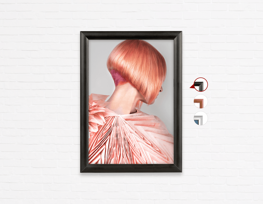 Salon Poster Click Frames, One-Sided: Woman with Pink Colored Bob Hairstyle Back - Bound for Style