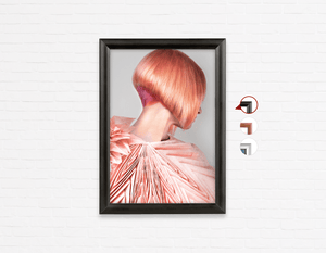 Salon Poster Click Frames, One-Sided: Woman with Pink Colored Bob Hairstyle Back