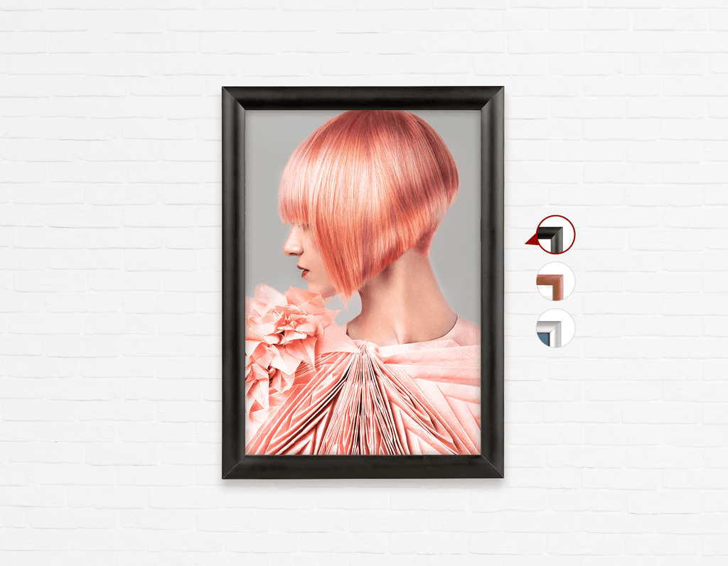 Salon Poster Click Frames, One-Sided: Woman with Pink Colored Bob Hairstyle - Bound for Style