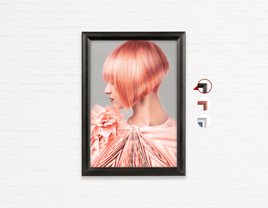 Salon Poster Click Frames, One-Sided: Woman with Pink Colored Bob Hairstyle