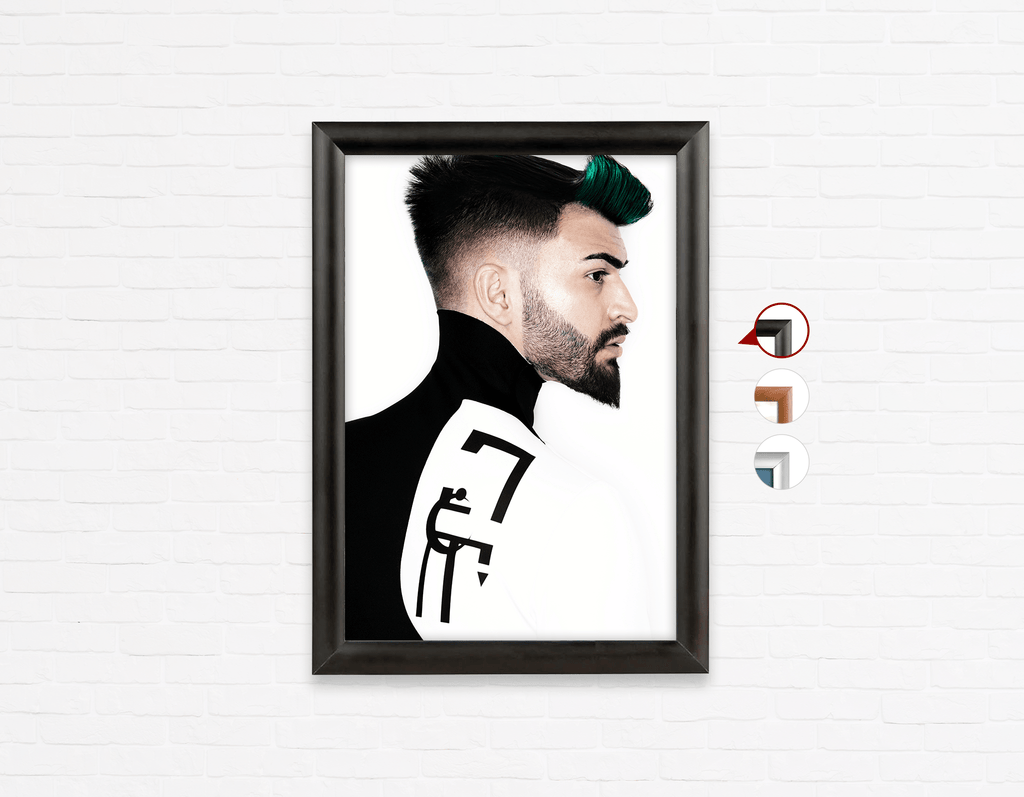 Salon Poster Click Frames, One-Sided:  Man with High Fade Quiff Haircut in Black and White Outfit - Bound for Style