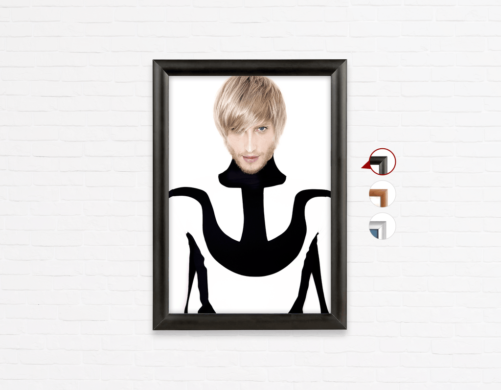 Salon Poster Click Frames, One-Sided:  Man in Bob Haircut with Ash Blonde Hair Color - Bound for Style