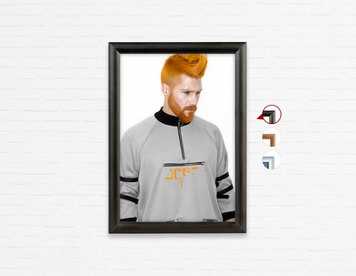Salon Poster Click Frames, One-Sided: Man with Side High Fade Quiff and Fringe Haircut with Orange Hair color