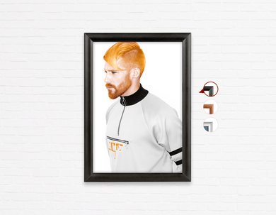 Salon Poster Click Frames, One-Sided: Man with High Fade Quiff and Fringe Haircut with Orange Hair color