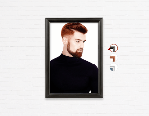 Salon Poster Click Frames, One-Sided:  Man Side with High Fade Quiff Haircut in Black Outfit